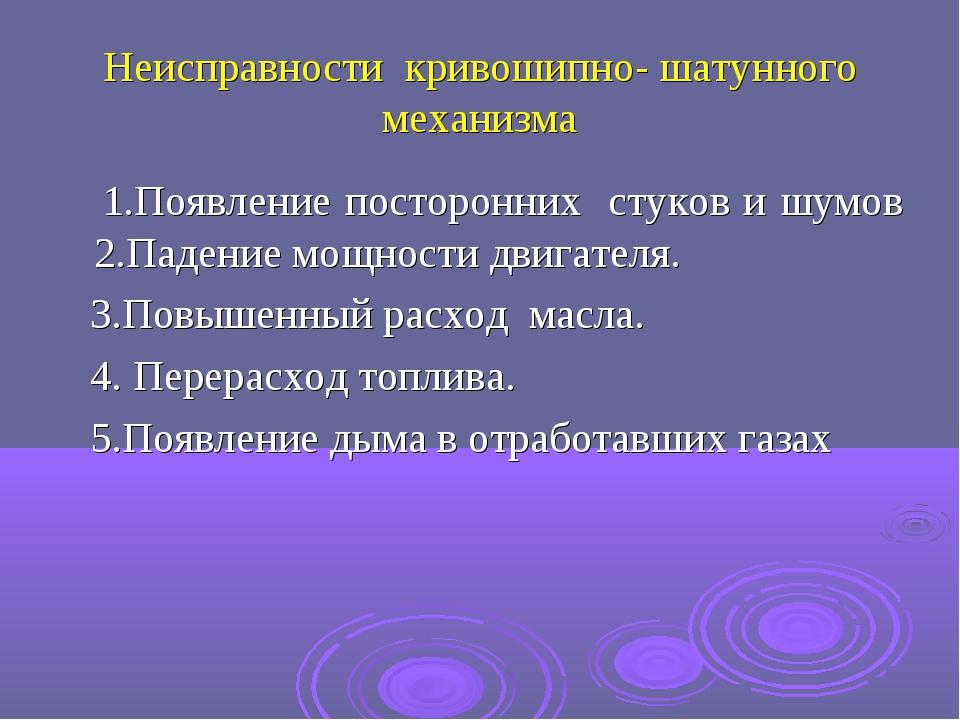 Неисправности кривошипно- шатунного механизма 1.Появление посторонних стуков...