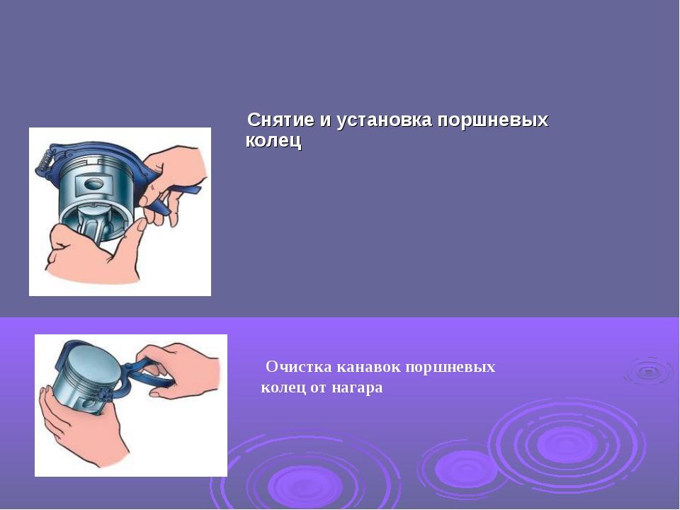 Очистка канавок поршневых колец от нагара Снятие и установка поршневых колец