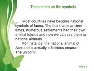 The animals as the symbols Most countries have become national symbols of fau