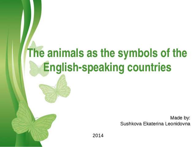Free Powerpoint Templates The animals as the symbols of the English-speaking...