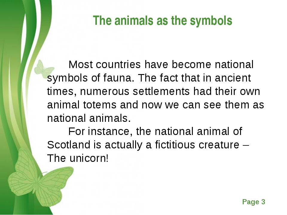 The animals as the symbols Most countries have become national symbols of fau...