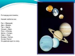 По порядку все планеты, Назовёт любой из нас: Раз — Меркурий, Два — Венера, Т