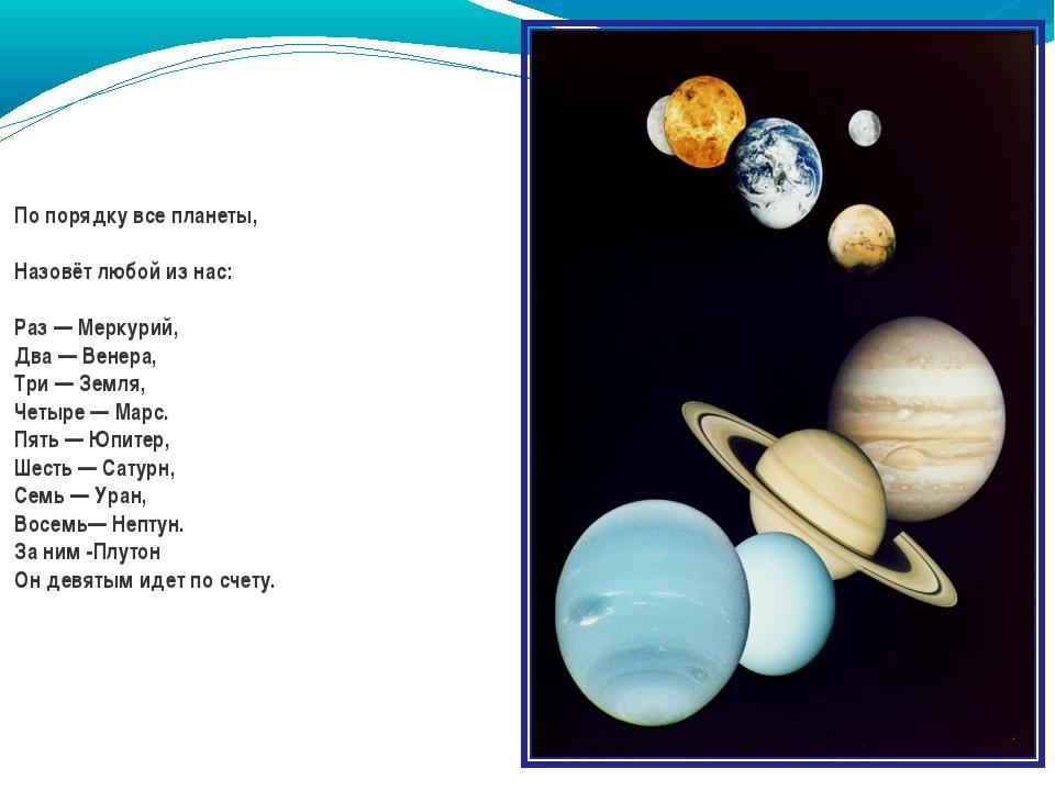 По порядку все планеты, Назовёт любой из нас: Раз — Меркурий, Два — Венера, Т...