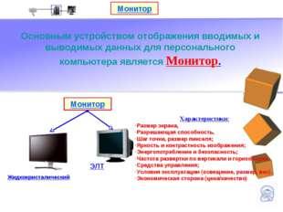Монитор Основным устройством отображения вводимых и выводимых данных для перс