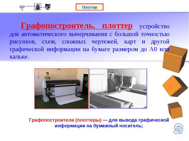 Плоттер Графопостроители (плоттеры) — для вывода графической информации на бу...