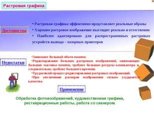 Растровая графика Достоинства Растровая графика эффективно представляет реаль