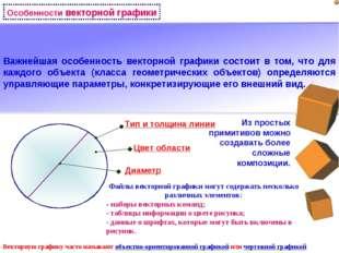 Особенности векторной графики Векторную графику часто называют объектно-ориен