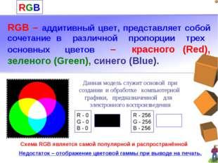 RGB RGB – аддитивный цвет, представляет собой сочетание в различной пропорции