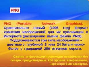 PNG (Portable Network Graphics). Сравнительно новый (1995 год) формат хранени