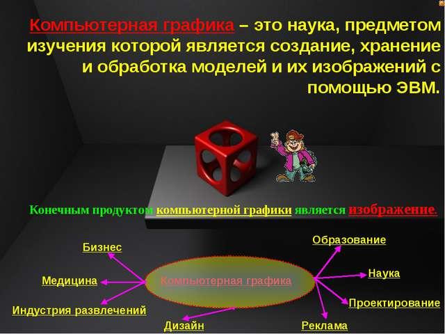 Компьютерная графика – это наука, предметом изучения которой является создани...