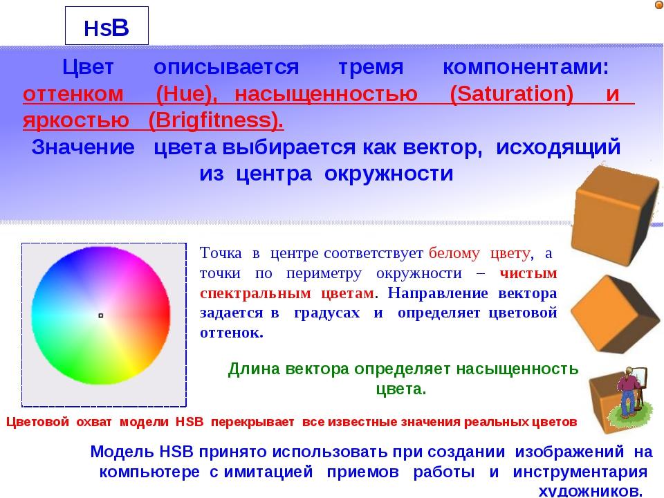 HSB Цвет описывается тремя компонентами: оттенком (Hue), насыщенностью (Satur...