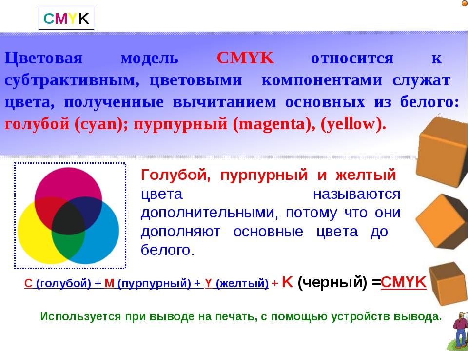 CMYK Цветовая модель CMYK относится к субтрактивным, цветовыми компонентами с...