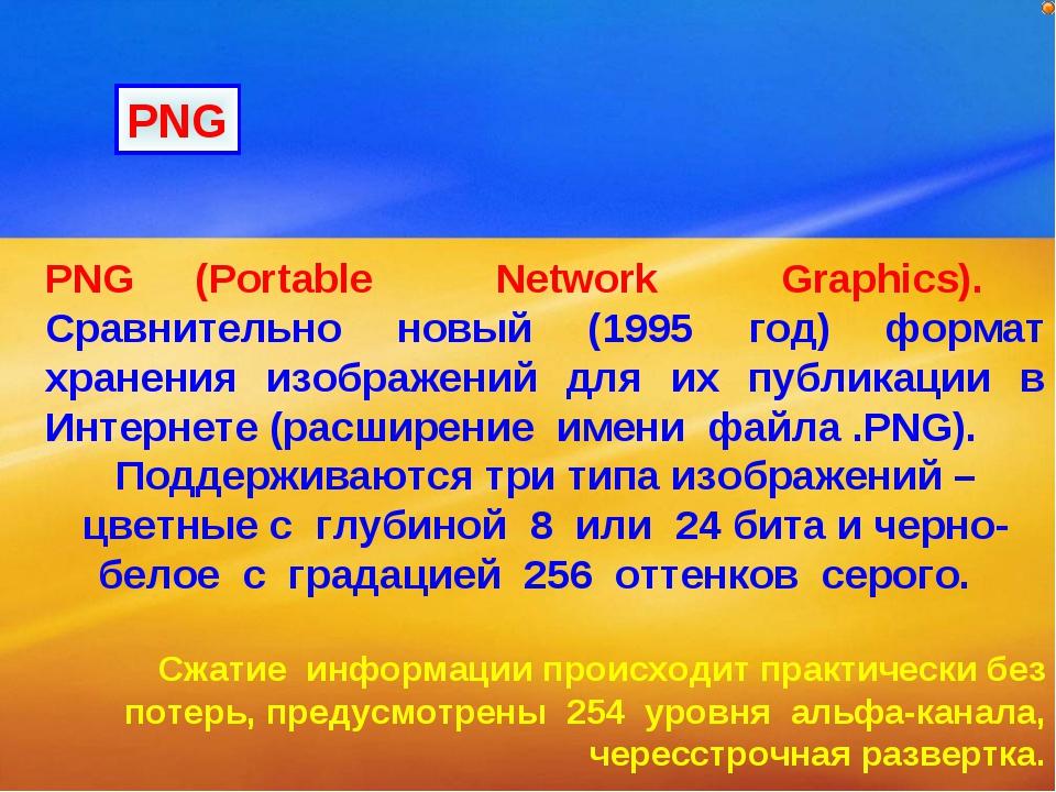 PNG (Portable Network Graphics). Сравнительно новый (1995 год) формат хранени...