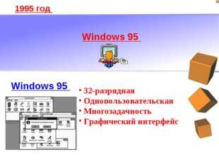 1995 год Windows 95 32-разрядная Однопользовательская Многозадачность Графиче
