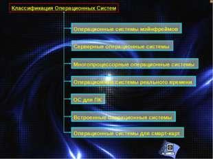 Классификация Операционных Систем Операционные системы мэйнфреймов Серверные