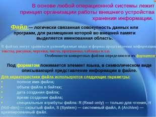 В основе любой операционной системы лежит принцип организации работы внешнего