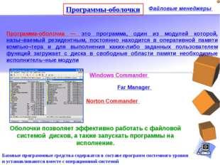 Программы-оболочки Файловые менеджеры Базовые программные средства содержатся