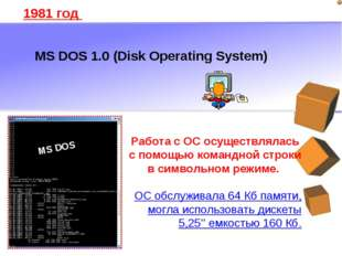 MS DOS 1.0 (Disk Operating System) 1981 год Работа с ОС осуществлялась с помо