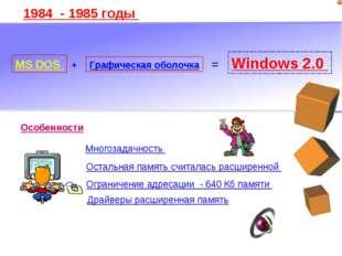 1984 - 1985 годы MS DOS + Графическая оболочка = Windows 2.0 Многозадачность