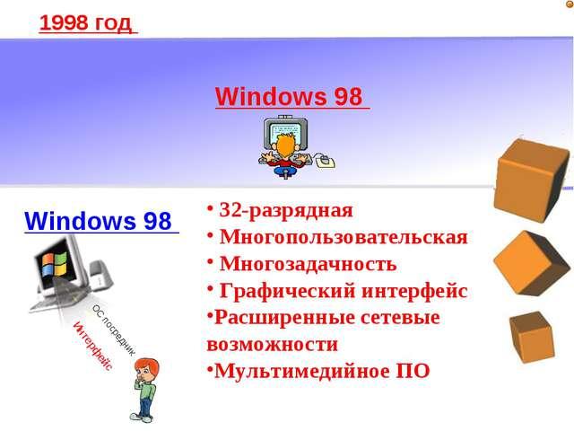 1998 год 32-разрядная Многопользовательская Многозадачность Графический интер...