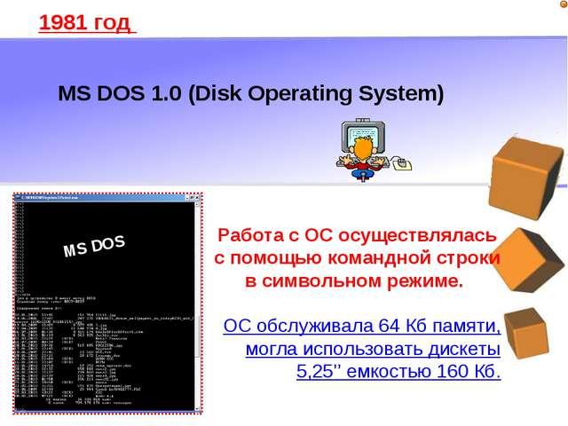 MS DOS 1.0 (Disk Operating System) 1981 год Работа с ОС осуществлялась с помо...