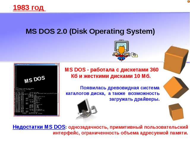 MS DOS 2.0 (Disk Operating System) 1983 год MS DOS - работала с дискетами 360...
