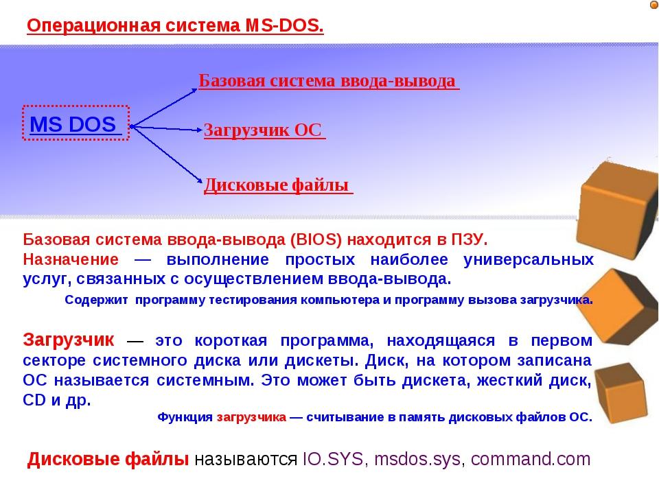 Операционная система MS-DOS. MS DOS Базовая система ввода-вывода Загрузчик ОС...