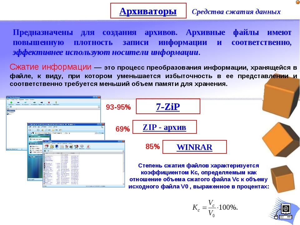 Архиваторы Средства сжатия данных Предназначены для создания архивов. Архивны...