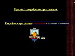 Процесс разработки программы Разработка программы = Изготовление + Проверка и