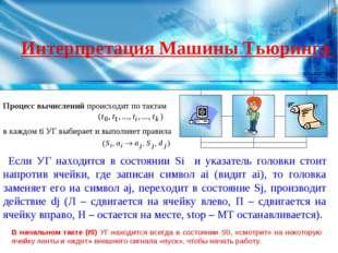 Интерпретация Машины Тьюринга Процесс вычислений происходит по тактам в каждо