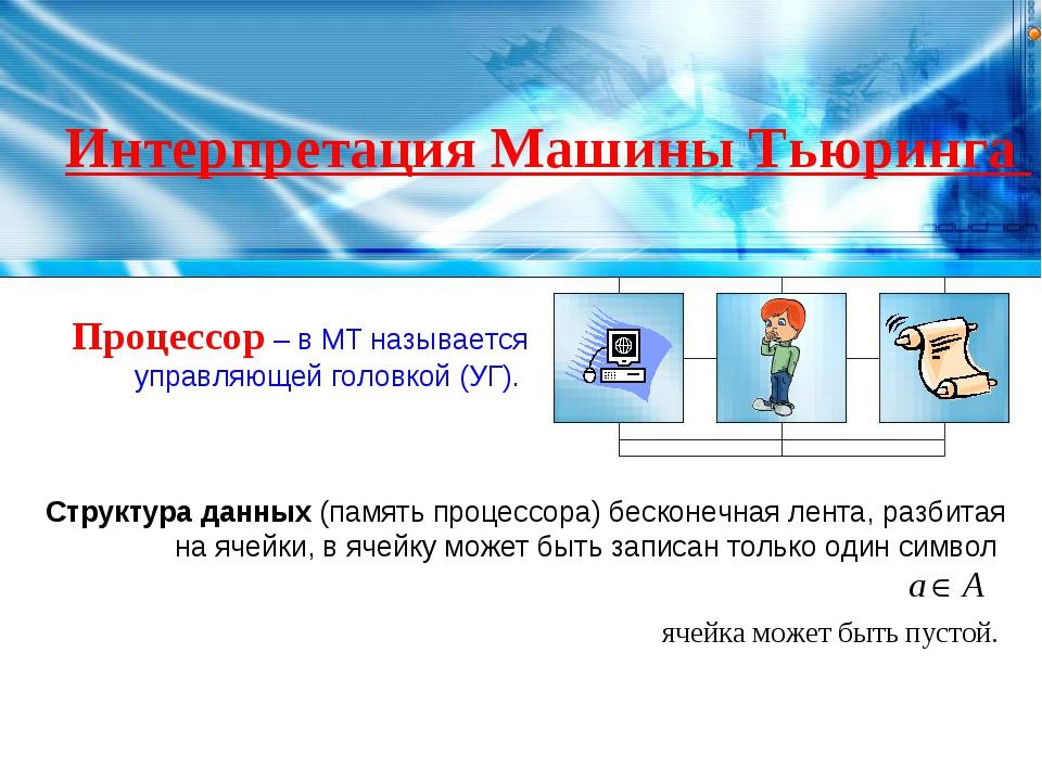 Интерпретация Машины Тьюринга Процессор – в МТ называется управляющей головко...