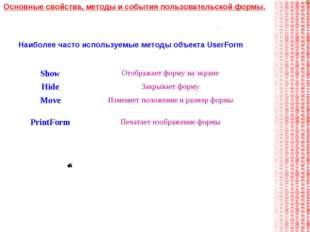 Наиболее часто используемые методы объекта UserForm Основные свойства, методы