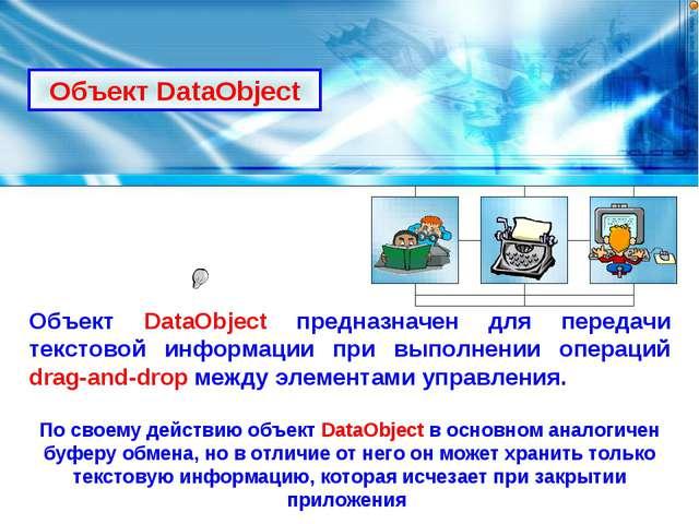 Объект DataObject Объект DataObject предназначен для передачи текстовой инфор...