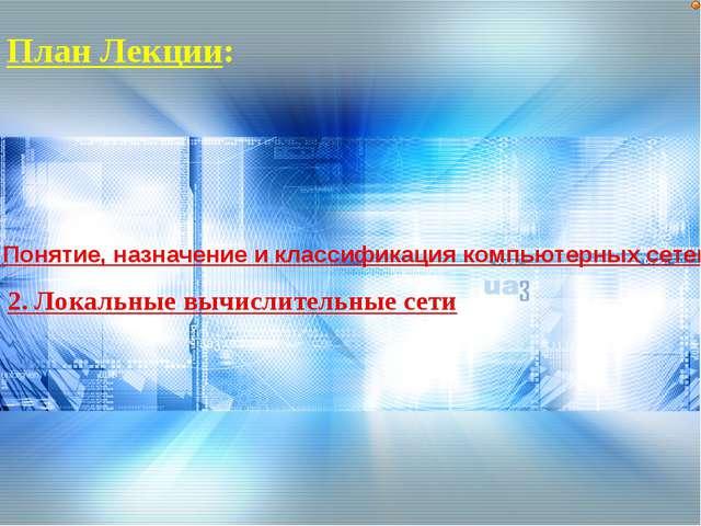 План Лекции: 1. Понятие, назначение и классификация компьютерных сетей 2. Лок...