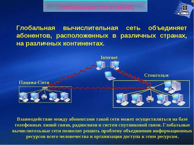 Глобальные сети (WAN) Глобальная вычислительная сеть объединяет абонентов, ра...