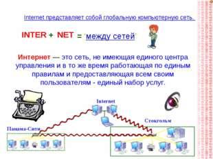 INTER NET = 'между сетей' + Internet представляет собой глобальную компьютерн