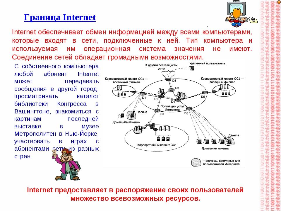 Граница Internet Internet обеспечивает обмен информацией между всеми компьюте...