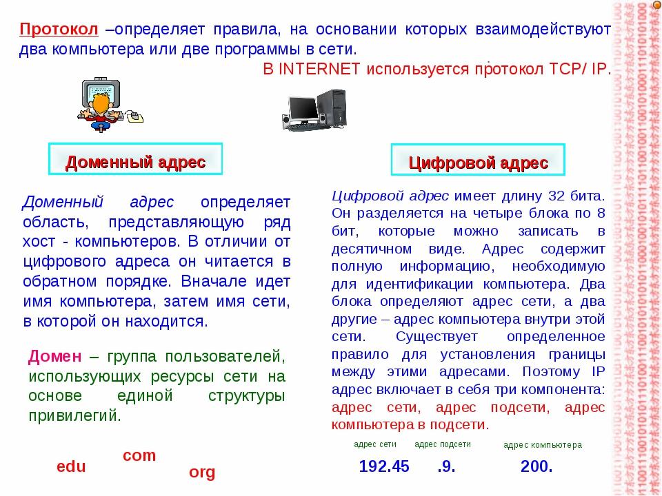 Протокол –определяет правила, на основании которых взаимодействуют два компью...