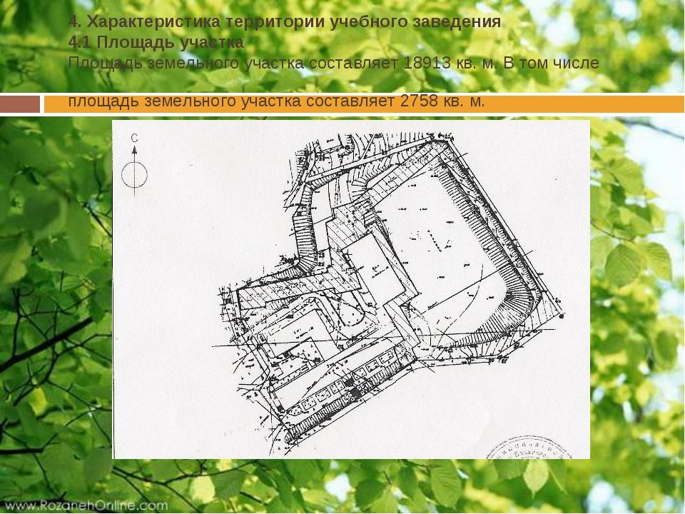 4. Характеристика территории учебного заведения 4.1 Площадь участка Площадь...