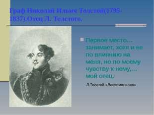 Граф Николай Ильич Толстой(1795-1837).Отец Л. Толстого. Первое место…занимает