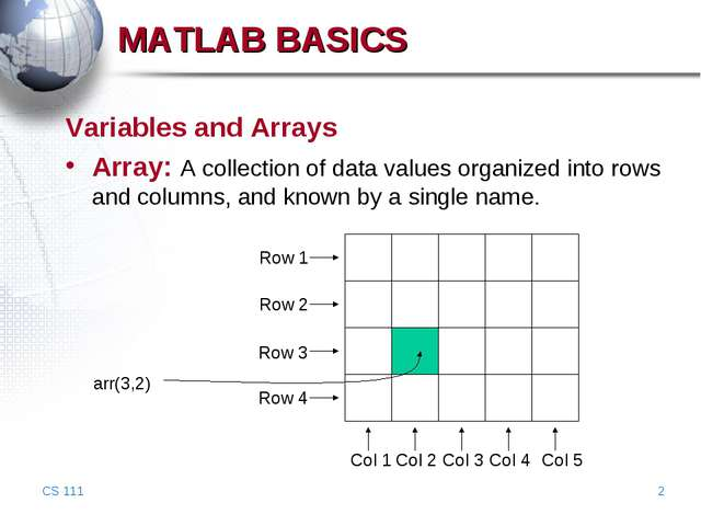 CS 111 * MATLAB BASICS Variables and Arrays Array: A collection of data value...