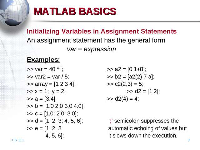 CS 111 * Initializing Variables in Assignment Statements An assignment statem...