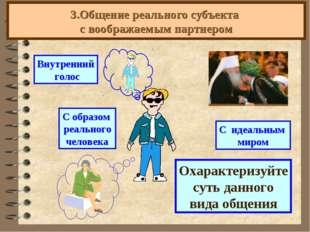 3.Общение реального субъекта с воображаемым партнером Охарактеризуйте суть да