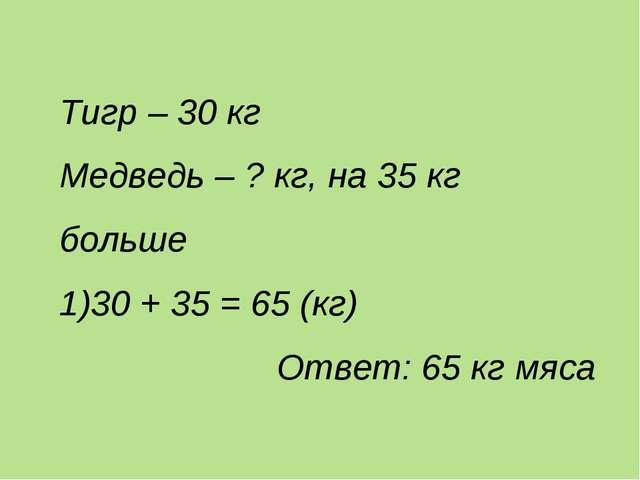 Тигр – 30 кг Медведь – ? кг, на 35 кг больше 30 + 35 = 65 (кг) Ответ: 65 кг м...