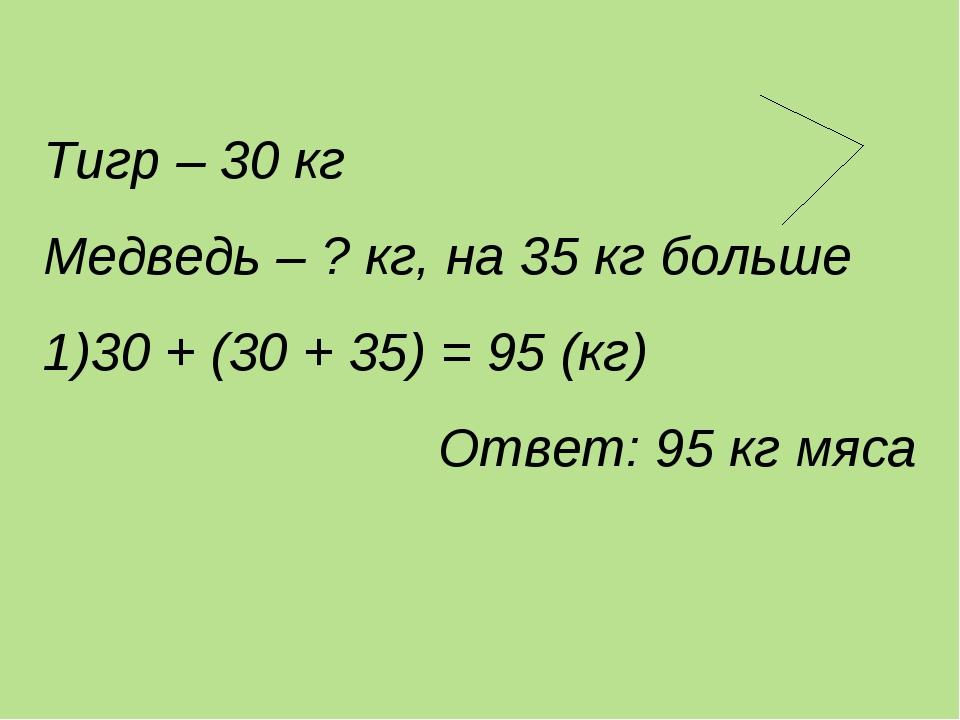 Тигр – 30 кг Медведь – ? кг, на 35 кг больше 30 + (30 + 35) = 95 (кг) Ответ:...