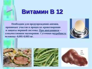 Витамин В 12 Необходим для предупреждения анемии, принимает участие в процесс