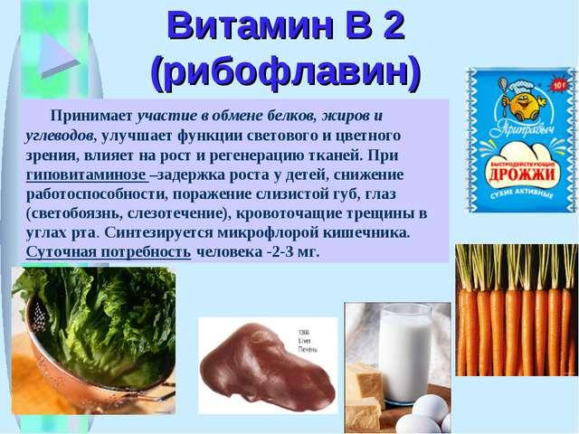 Витамин В 2 (рибофлавин) Принимает участие в обмене белков, жиров и углеводов...