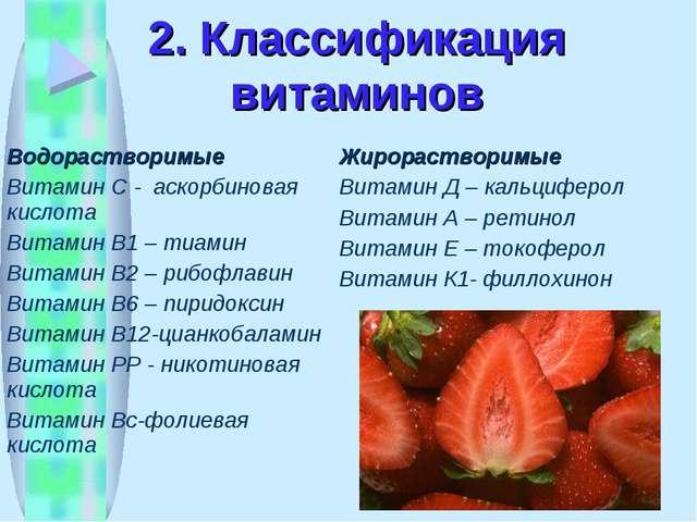 2. Классификация витаминов