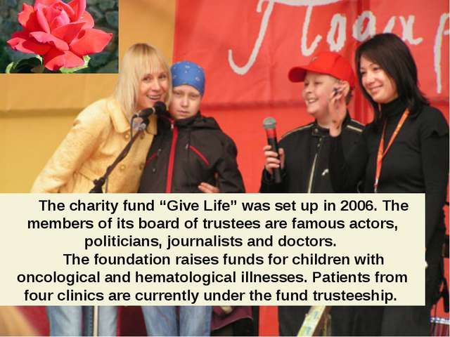 """The charity fund """"Give Life"""" was set up in 2006. The members of its board of..."""