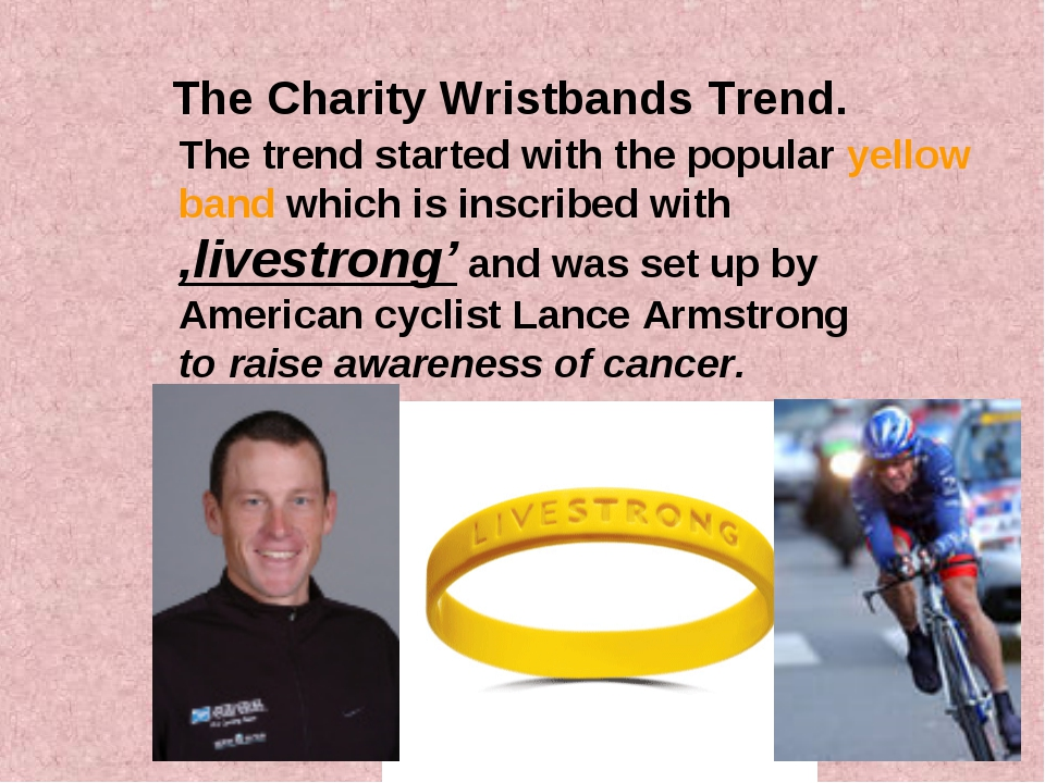 The Charity Wristbands Trend. The trend started with the popular yellow band...